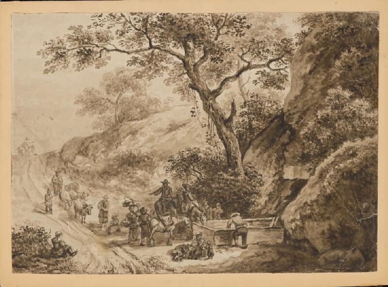 Stredoeurópsky grafik z 19. storočia - Odpočinok pocestných