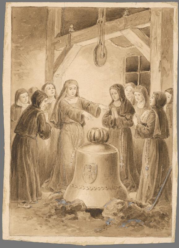 Stredoeurópsky grafik z 20. storočia - Rehoľné sestry pri zvone