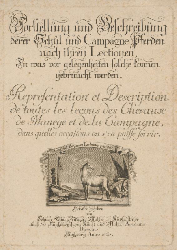 Johann Elias Ridinger - Titulná strana ukážkovej knihy koní