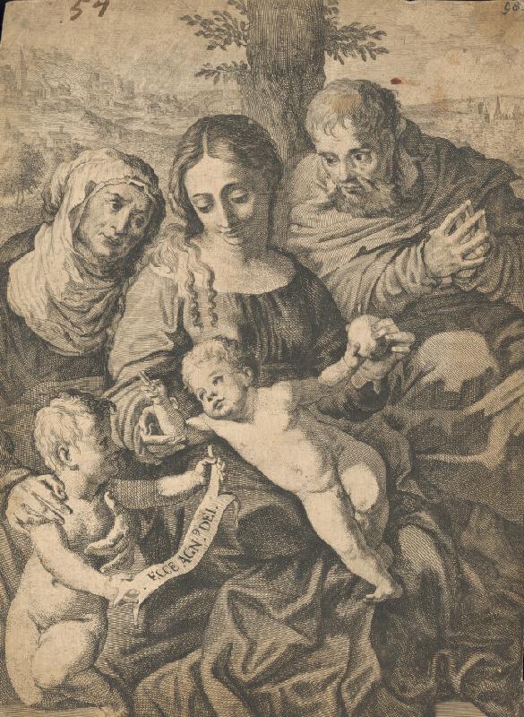 Stredoeurópsky grafik z 2. polovice 16. storočia - Sv. rodina so sv. Annou a sv. Jánom Krstiteľom