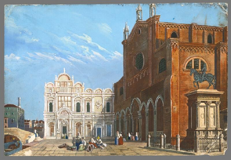 Taliansky maliar okolo polovice 19. storočia - Pohľad na baziliku St. Giovanni e Paolo v Benátkach