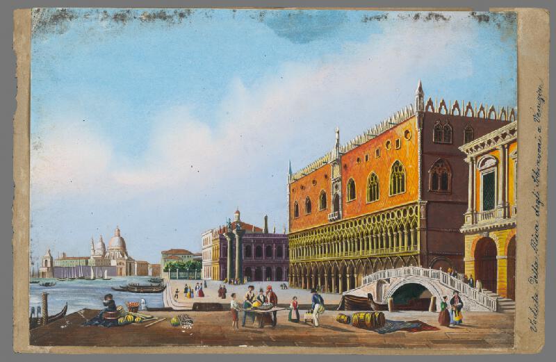Taliansky maliar okolo polovice 19. storočia - Pohľad na dóžací palác v Benátkach a jeho okolie