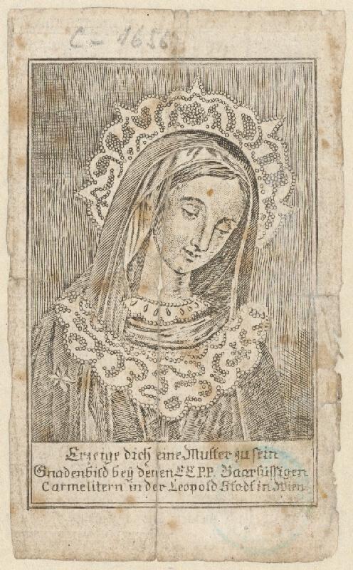 Stredoeurópsky grafik z 19. storočia - Svätý obrázok s vyobrazením Milosrdného obrazu Panny Márie