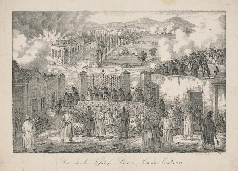 Stredoeurópsky grafik z 19. storočia - Scéna z Nusdorfskej línie vo Viedni