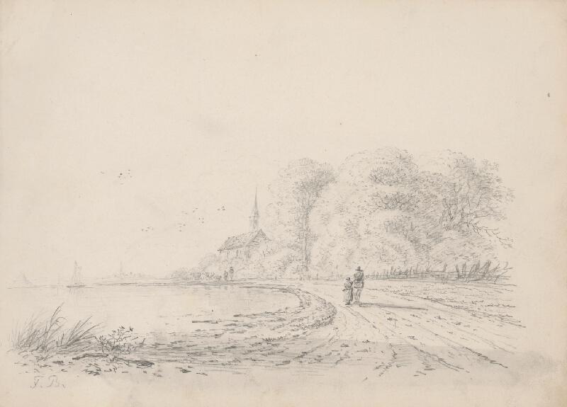 Franz Brudermann - Krajina s jazerom a kostolíkom