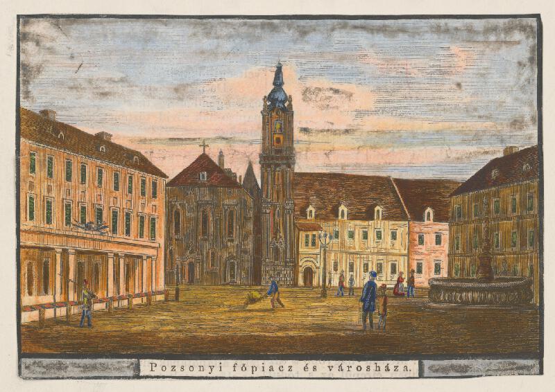 Stredoeurópsky grafik z 19. storočia - Hlavné námestie a radnica v Bratislave