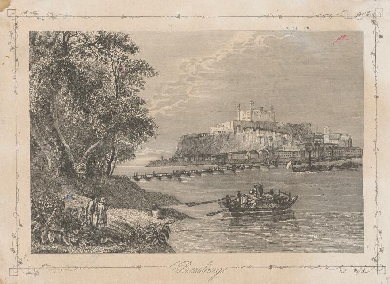 Stredoeurópsky grafik z 2. polovice 19. storočia, William Henry Bartlett - Bratislava z juhu