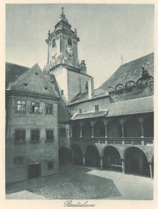 Stredoeurópsky grafik z 20. storočia - Radničná veža a nádvorie v Bratislave