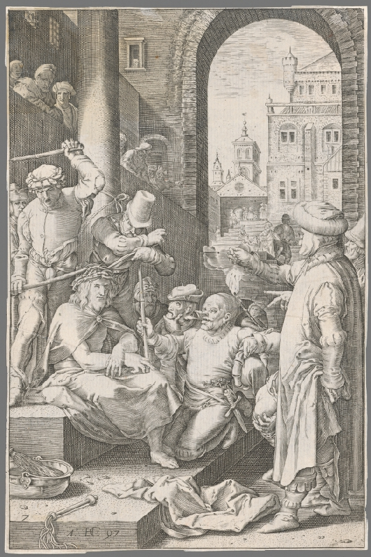 Hendrick Goltzius - Tŕním korunovanie a posmievanie Krista (7)