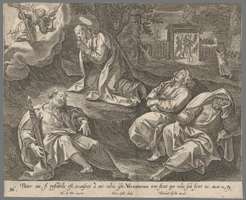 Cornelis Galle II., Maarten de Vos - Kristus sa modlí na Olivovej hore