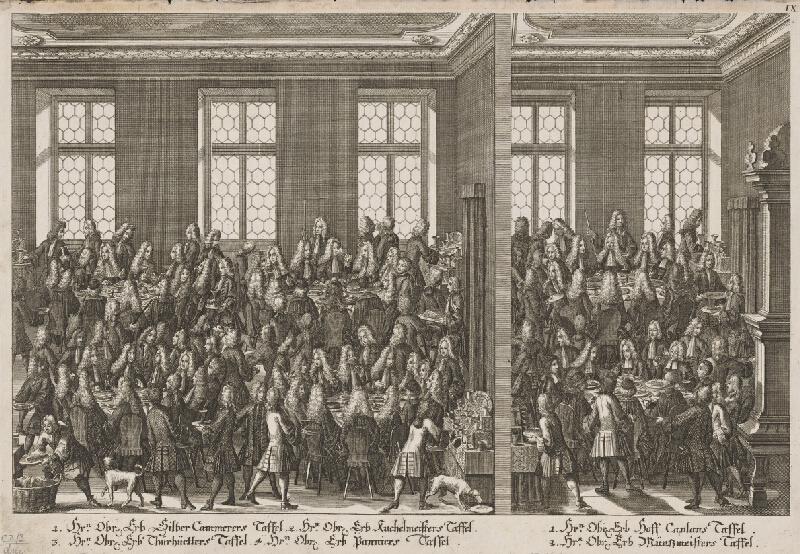 Rakúsky grafik z 18. storočia - Slávnostná hostina po oslave následníčky Márie Terézie
