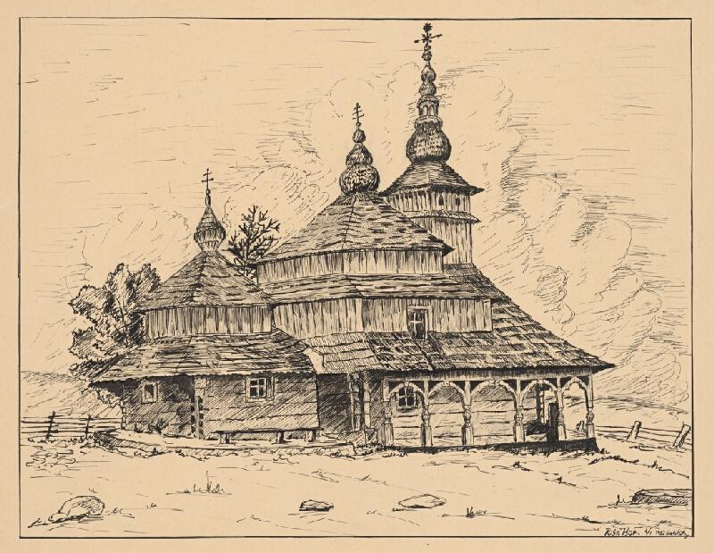 Český grafik z 20. storočia - Drevený kostolík so zvonicou