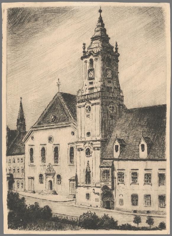 Slovenský grafik z 1. polovice 20. storočia - Radničná veža v Bratislave