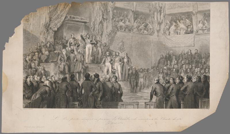Jean Jacques Frilley, Edouard-Henri  Girardet, Eugène  Devéria, Charles  Gavard - Ľudovít Filip Orleánsky prisahá na novú ústavu