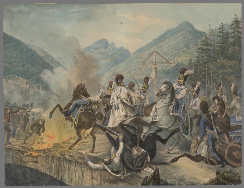 Stredoeurópsky grafik z 19. storočia - Bitka pri moste Kodilach