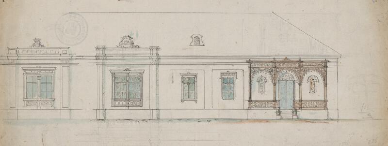 Karl Feigler - Návrh na fasádu rodinného domu s verandou v Bratislave