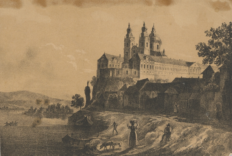 Rakúsky maliar z 19. storočia - Kláštor Melk na Dunaji
