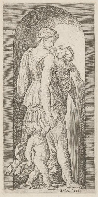 Taliansky grafik zo 16. storočia - Žena s deťmi