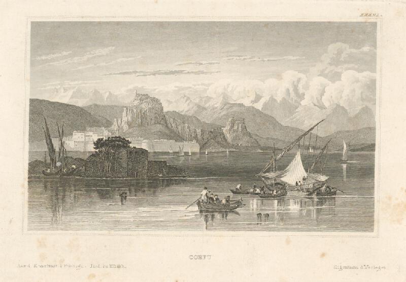Stredoeurópsky grafik z 19. storočia - Ostrov Corfu