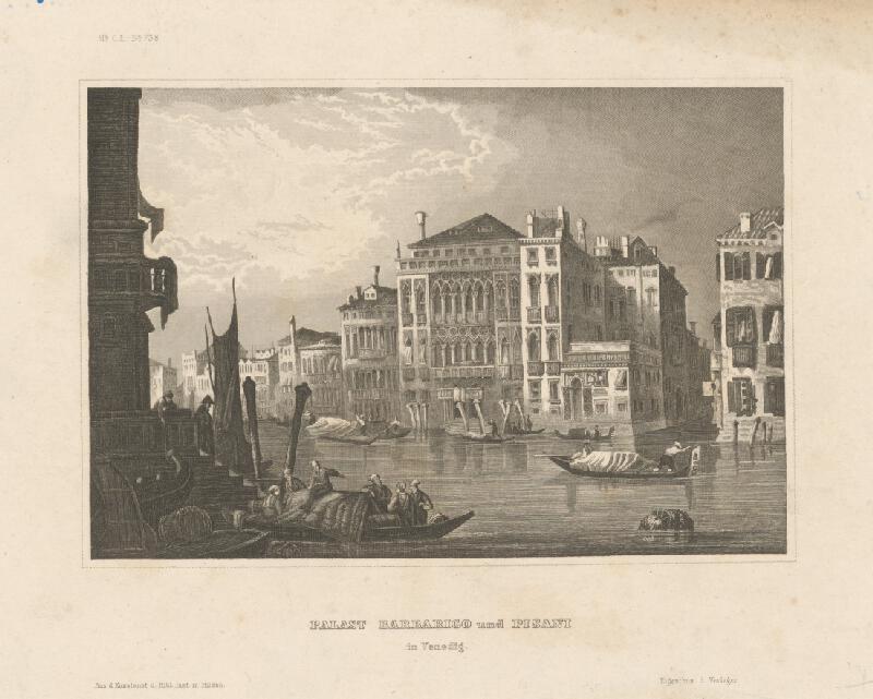 Stredoeurópsky grafik z 19. storočia - Palác Barbarigo a Pisani v Benátkach