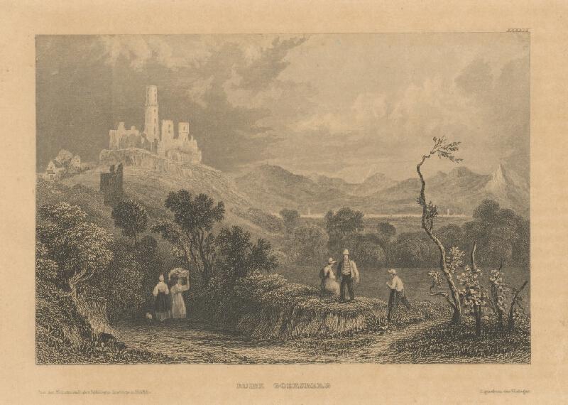 Stredoeurópsky grafik z 19. storočia - Zrúcaniny v Godesbergu