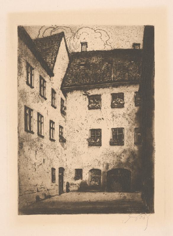 Stredoeurópsky grafik z 1. polovice 20. storočia - Nádvorie domu v Bratislave