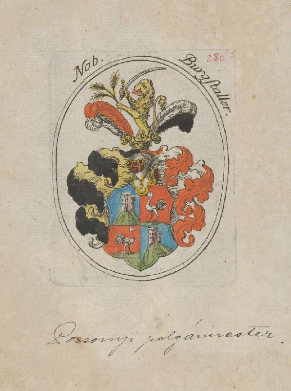 Stredoeurópsky grafik z 1. polovice 18. storočia - Erb Burgstallera richtára Bratislavy
