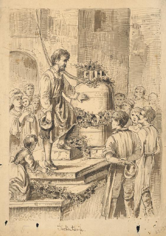 Rakúsky grafik z 19. storočia - Vysviacka zvona