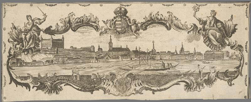 Stredoeurópsky grafik z 18. storočia - Pohľad na Bratislavu