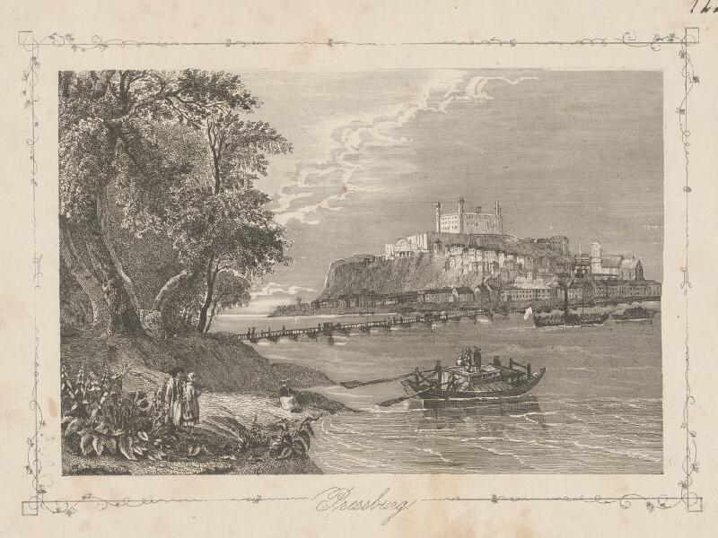 Stredoeurópsky grafik z polovice 19. storočia - Bratislava z juhovýchodu