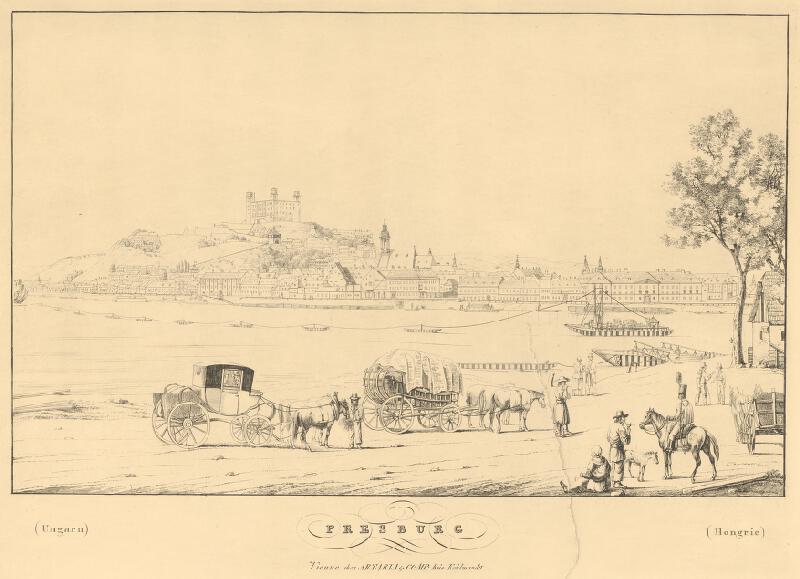 Carl Bschor - Pohľad na Bratislavu z juhu