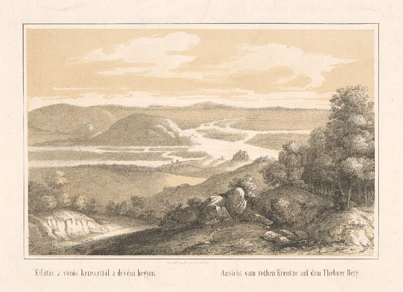 František Pracher - Výhľad z Červeného kríža na sútok Dunaja a Moravy