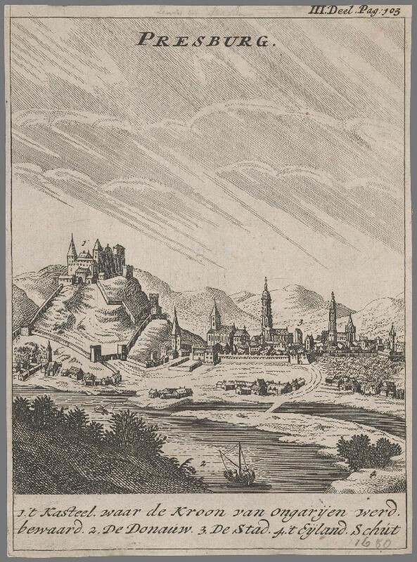 Stredoeurópsky grafik zo 17. storočia - Pohľad na Bratislavu v 17. storočí