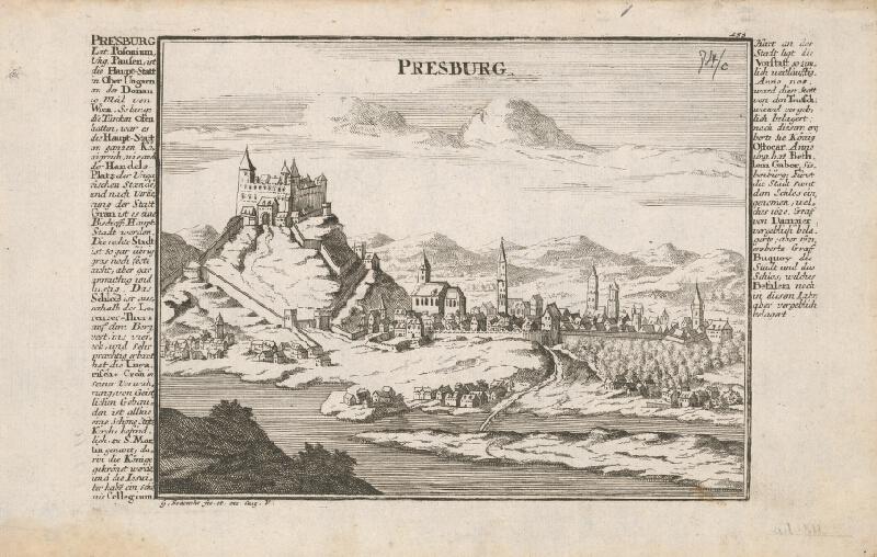 Johann Georg Bodenehr - Pohľad na Bratislavu z juhu