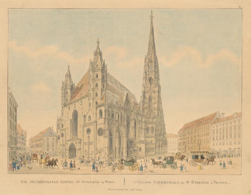 Stredoeurópsky grafik z 1. polovice 19. storočia - Kostol sv.Štefana vo Viedni