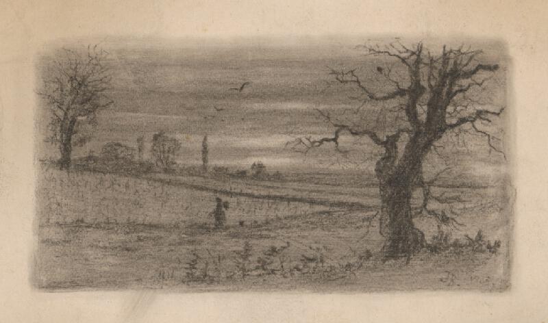 Stredoeurópsky grafik z 20. storočia - Krajina so stromami