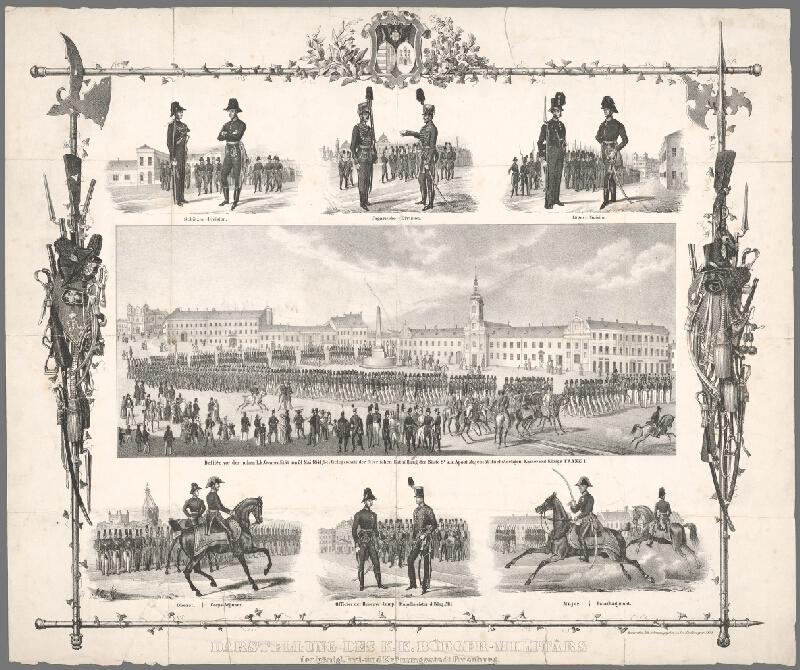 Antal József Strohmayer - Pamätný list s vojenským sprievodom pri príležitosti odhalenia busty cisára Františka I. 31. mája 1841