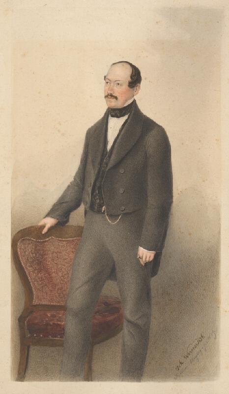 Johannes Werner - Portrét muža stojaceho pri stoličke