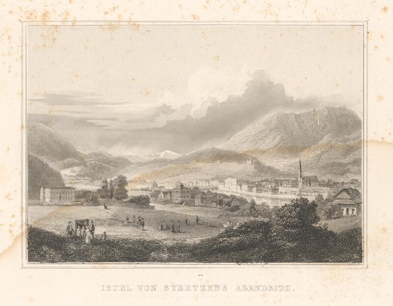 Stredoeurópsky grafik z 19. storočia - Ischl od západu