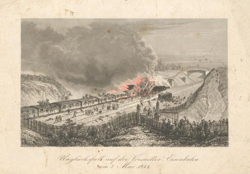 Stredoeurópsky grafik z 19. storočia - Nešťastie na železnici pri Versailles r.1842