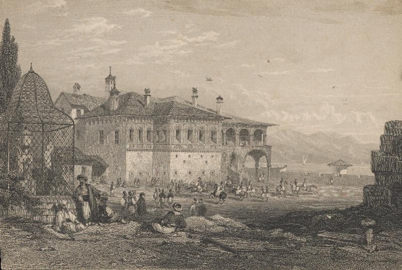 Stredoeurópsky grafik z 19. storočia - Námestie v tureckom meste