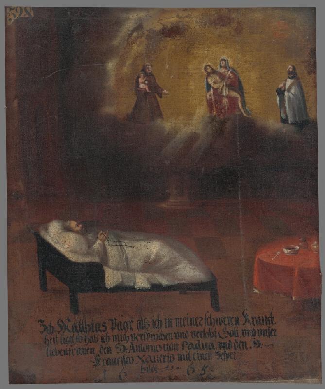 Slovenský maliar z 2. polovice 17. storočia - Zasľúbenie Mateja Paara svätým - votívny obraz