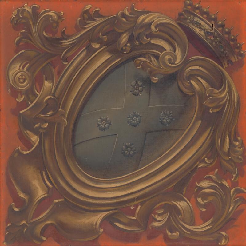 Monogramista G.St.G., Gabriela Eleonora Jozefa Saint-Genois - Erb rodu Saint Genois v dekoratívnej kartuši