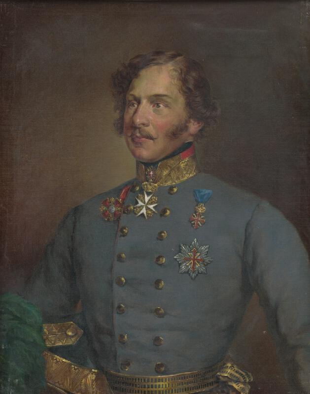 Maďarský maliar zo začiatku 20. storočia - Portrét muža v modrej uniforme