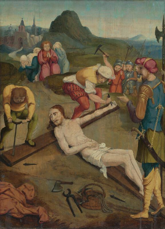Nemecký autor zo 16. storočia, maliar z 1. štvrtiny 16. storočia Podunajská škola - Pribíjanie Krista na kríž