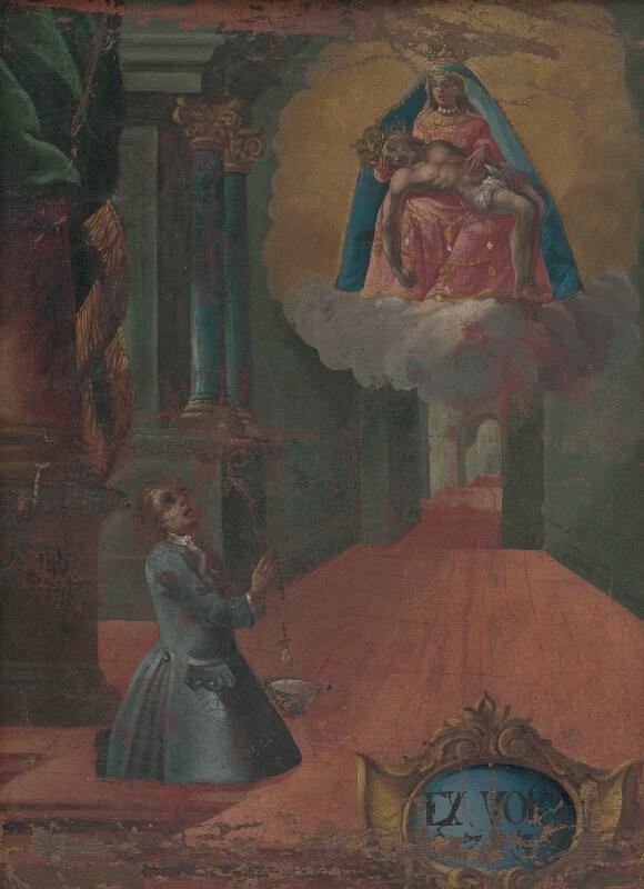 Slovenský maliar z 1. polovice 18. storočia - Votívny obraz s kľačiacim donátorom a Sedembolestnou Pannou Máriou