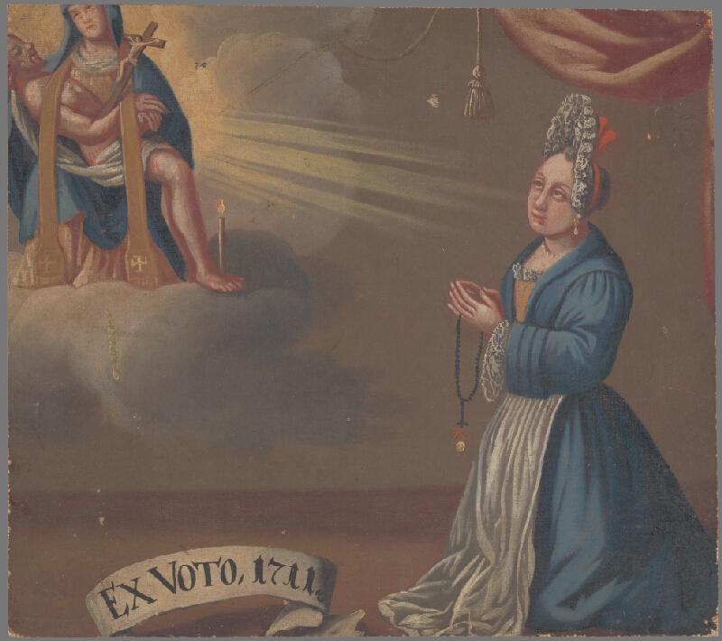 Slovenský maliar zo začiatku 18. storočia - Votívny obraz s donátorkou v čepci