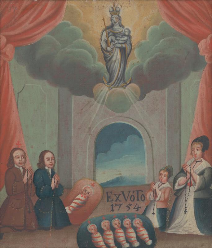 Slovenský maliar zo začiatku 2. polovice 18.storočia - Votívny obraz s donátormi a Pannou Máriou s dieťaťom