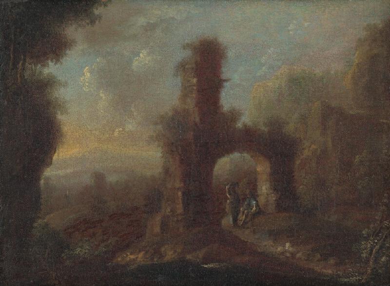 Rakúsky maliar okolo polovice 18. storočia - Krajina so zrúcaninou a  figurálnou štafážou