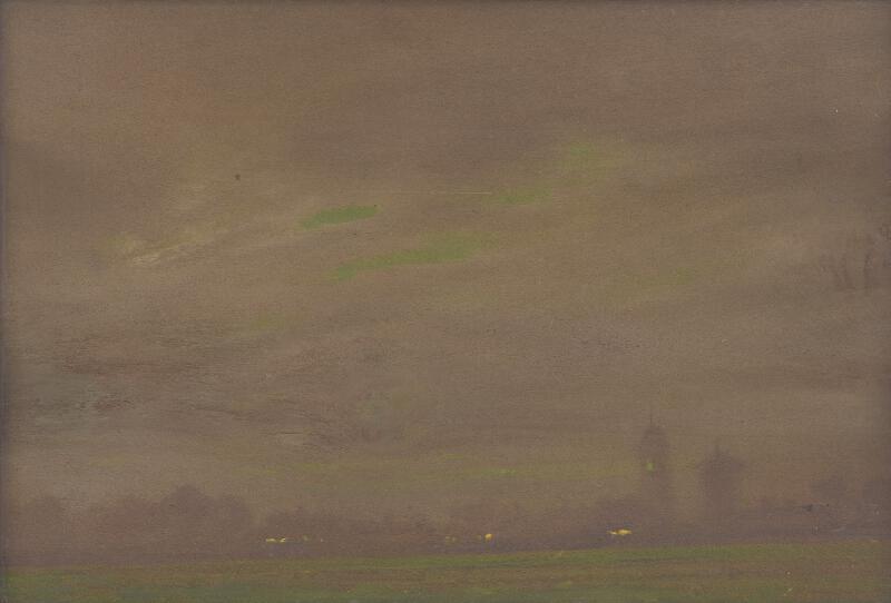 Ferdinand Katona - Pohľad na večernú krajinu s dvoma vežami